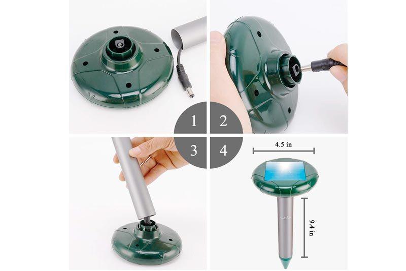Fillixar Mole Repellent Solar Powered Ultrasonic Gopher Sound Chipmunk Repellent Mole Repellant Sonic Rodent Repe Mole Repellent Repeller Chipmunk Repellent