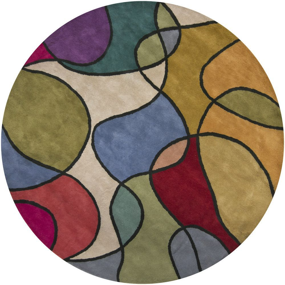 bense    patterned round contemporary area rug  area rugs  - bense    patterned round contemporary area rug