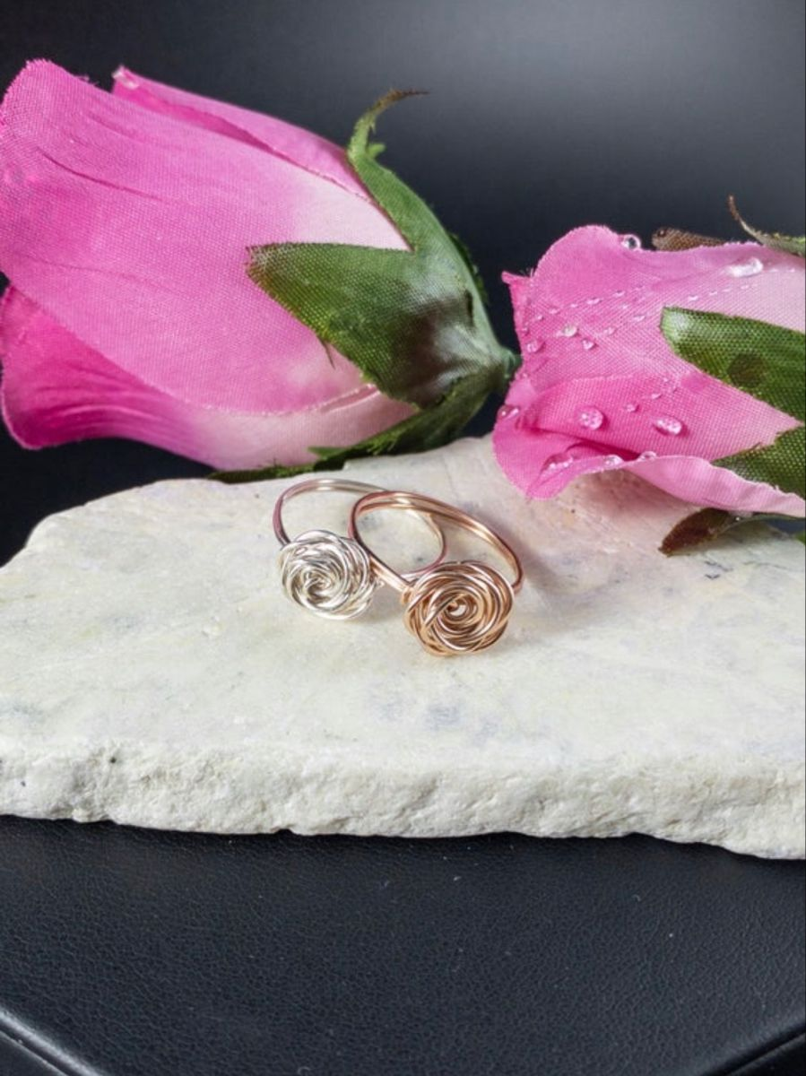 Wire Rose Shaped Rings Anniversary Gifts for Her Elegant Rosette Rings Handmade with Sterling Silver and Rose Gold Filled Wire