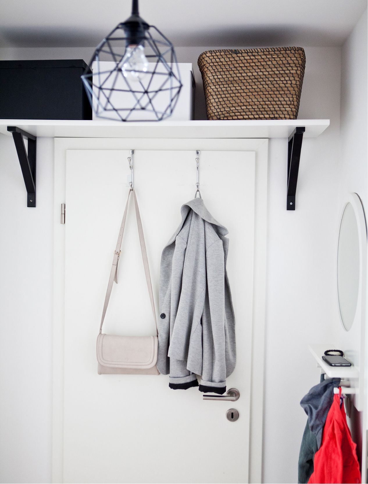 Photo From Ikea A Shelf Above The Door Can Be Used For Extra Storage Bo Or Place To Keep Seldom Worn Shoes Over Hooks Are Great Holding