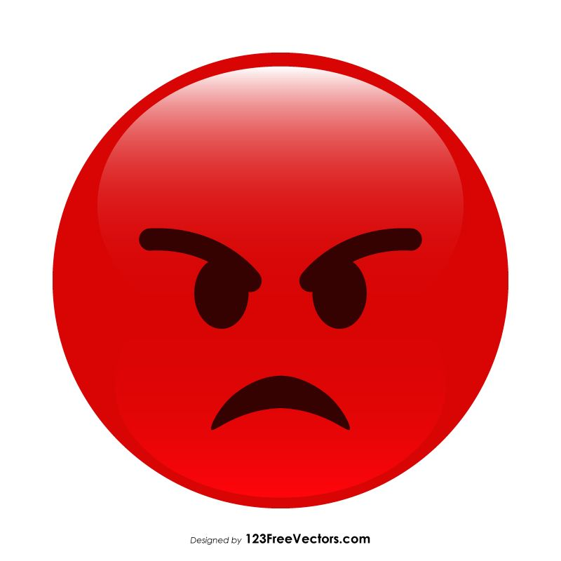 Red Angry Emoticon | Angry emoticon, Angry emoji, Funny emoji faces