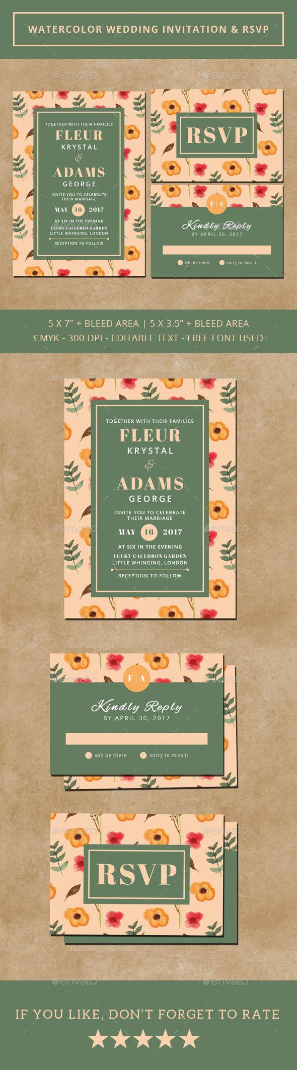 Watercolor Wedding Invitation Rsvp Template Invitation Card