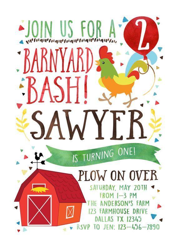 barnyard bash birthday invitation farm birthday invitation farm