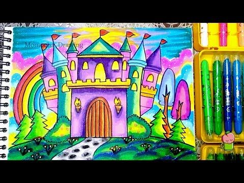 How To Draw And Coloring Castle Easy Step By Step For Kids Youtube Gambar Simpel Gambar Kastil Cara Menggambar
