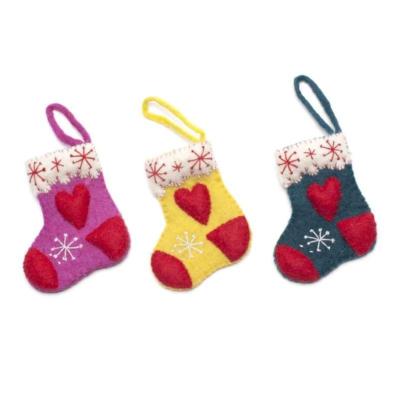 Odd Socks Fairtrade Felt Christmas Decoration by Felt So Good Mimosa Christmas - Mimosa Style
