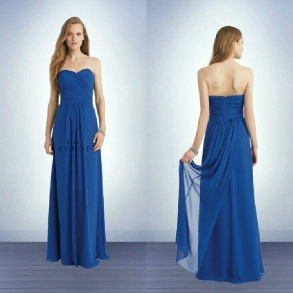 Bill Levkoff Bridesmaid Dress 1133 Horizon Blue Chiffon Style In