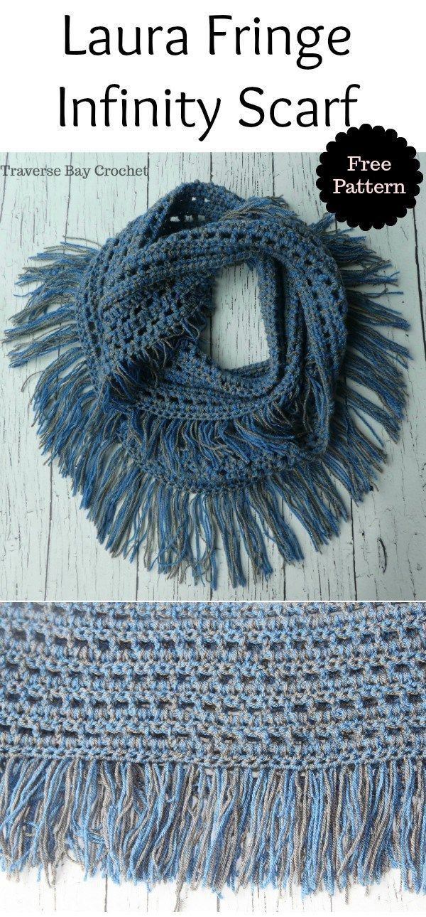 Laura Crochet Fringe Infinity Scarf -   Crochet II   Pinterest   Schals