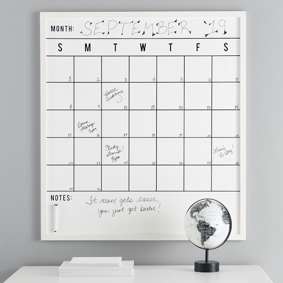 No Nails Oversized Framed Dry Erase Calendar Dry Erase