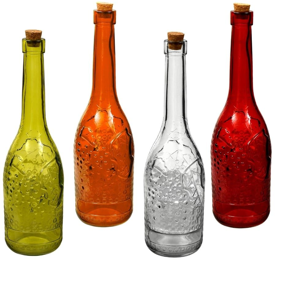 Tall Narrow Neck Colored Glass Bottles With Cork Stoppers 12 25 In Colored Glass Bottles Glass Bottles With Corks Glass Bottle Diy