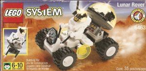 Lego Lunar Rover (6463) by LEGO. $44.86. Contains a total of 35 pieces. Comes with a driving mini figure. Lunar Rover vehicle building play set from Lego. Recommended for ages 6 to 10 years. Pretend to discover the unknown and ride over craters. Item is in stock and ready to ship.