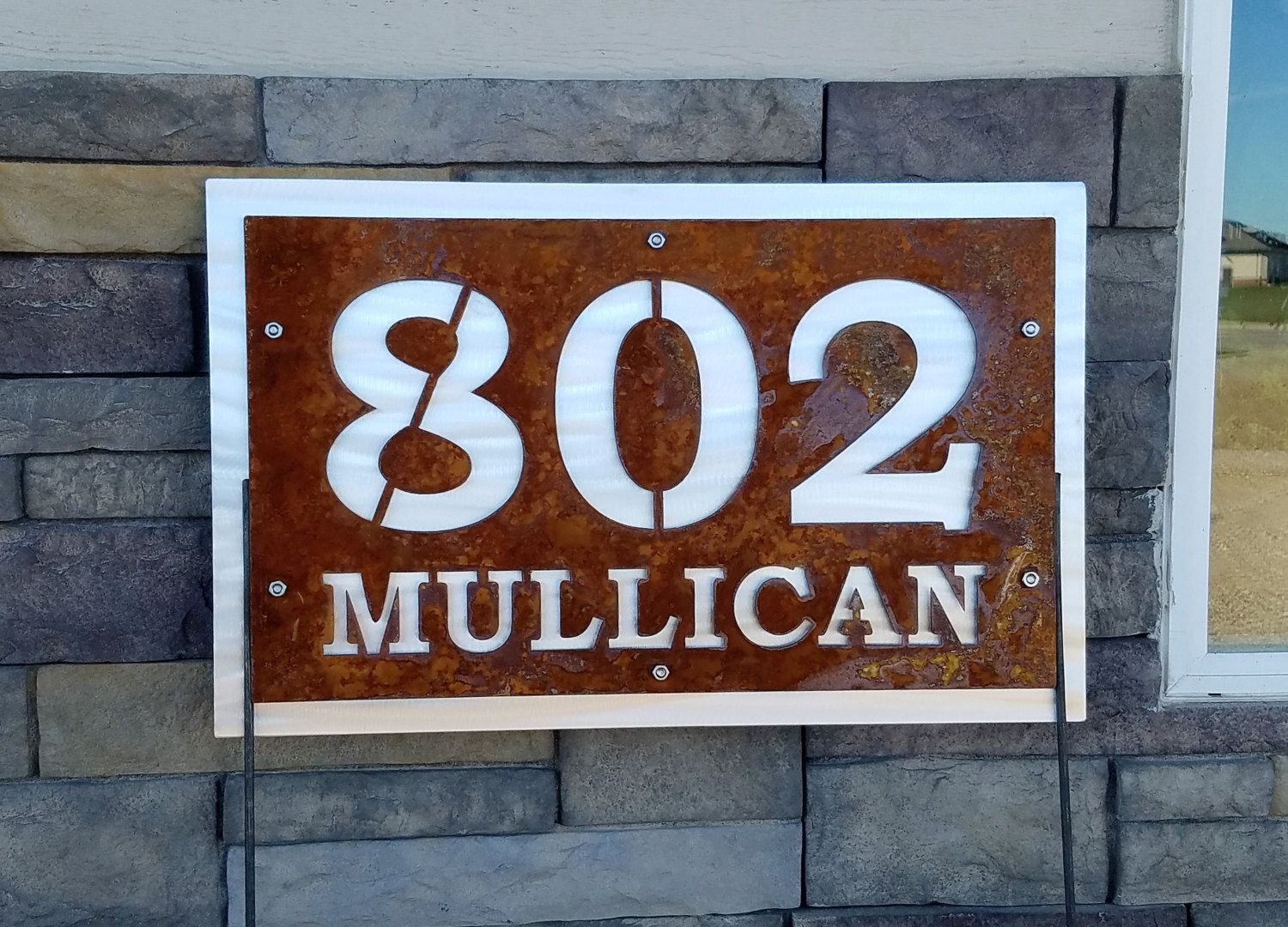 Rustic Metal Address And Street Number House And Street Number On