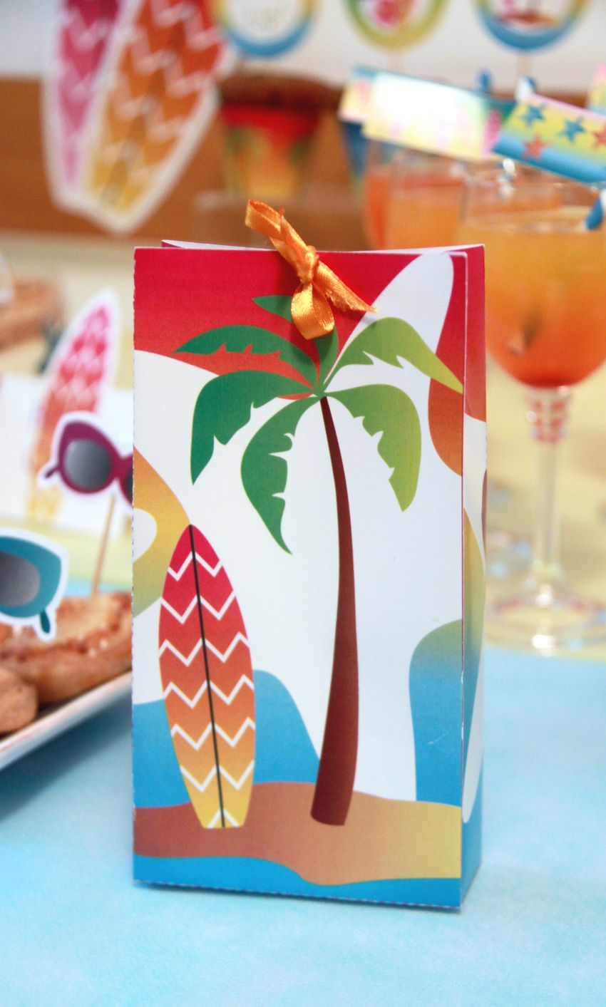Beach party table decorations summer surf party printable favor box by pixiebearparty on etsy