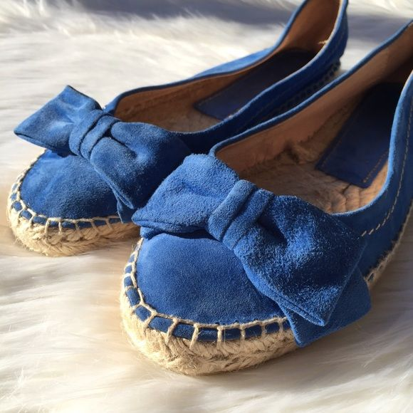 Palomitas Blue Bow Suede Espadrille Flats NWOT • No box • Small spot on bow& ware on shoe logo from store • No trades Paloma Barcelo Shoes Espadrilles