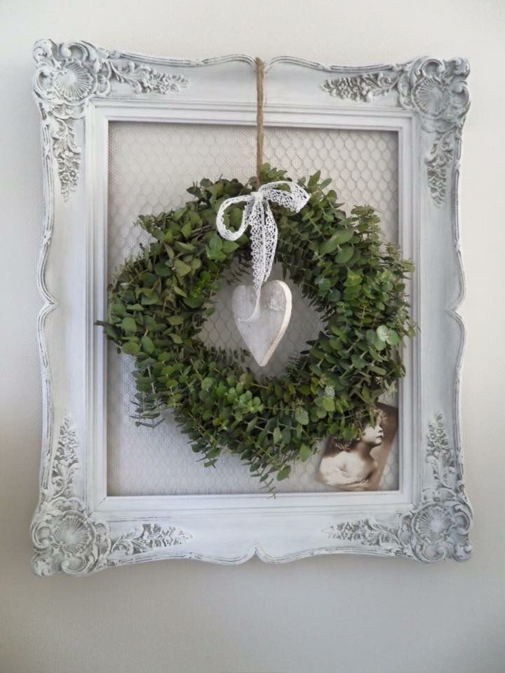 Photo of French antique frame farmhouse wreath …. I'm in love ?