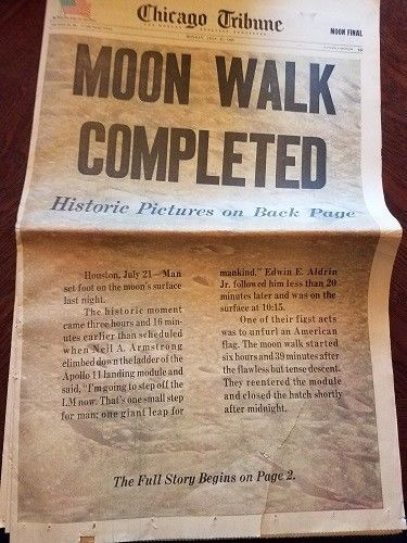 Chicago Tribune July 21,1969 Moon Walk Completed Sections 1, 1A, 2