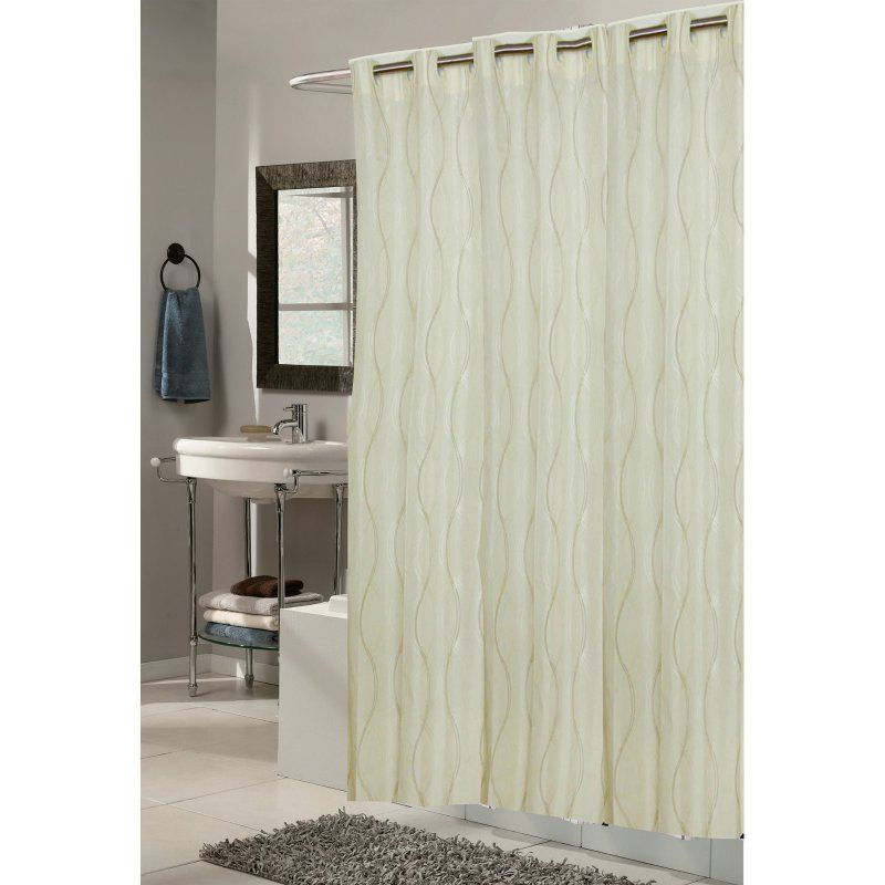 Carnation Home Fashions Ez On Grommet Bristol Ivory Fabric Shower