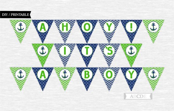 Instant Download Greewen and Navy Ahoy  Its a Boy by abcdeparty