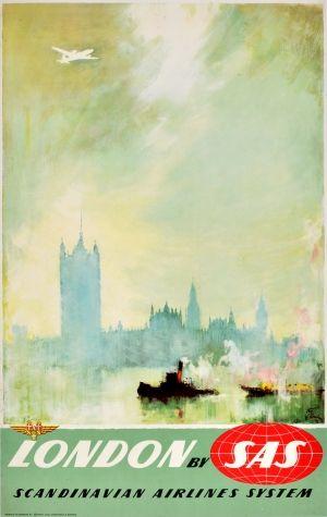 London SAS Otto Nielsen, 1950s - original vintage poster by Otto Nielsen listed on AntikBar.co.uk