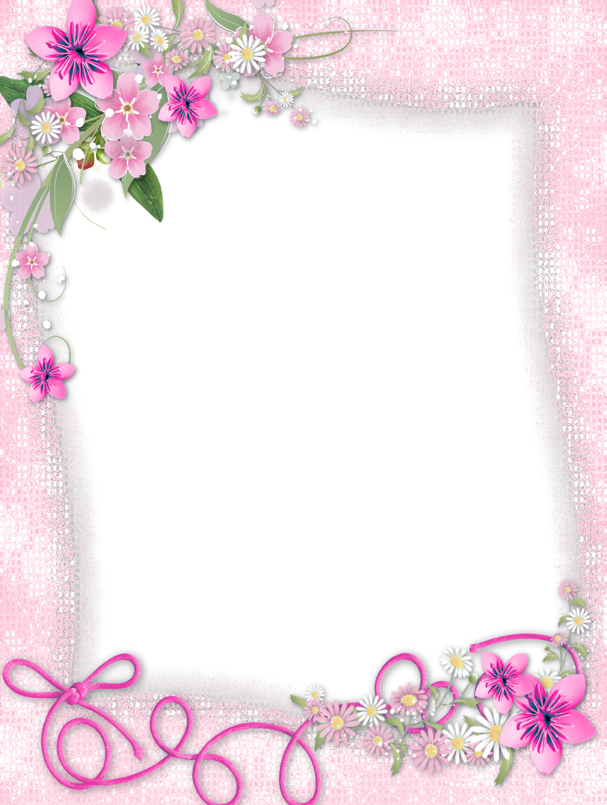 Transparent Pink PNG Frame with Flowers Convites de