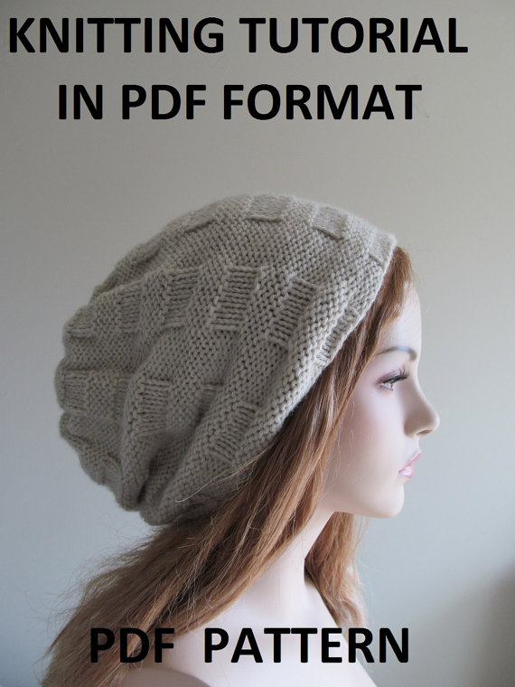 Digital PDF Knitting Pattern Instant Download Slouchy Beanie Hipster ...