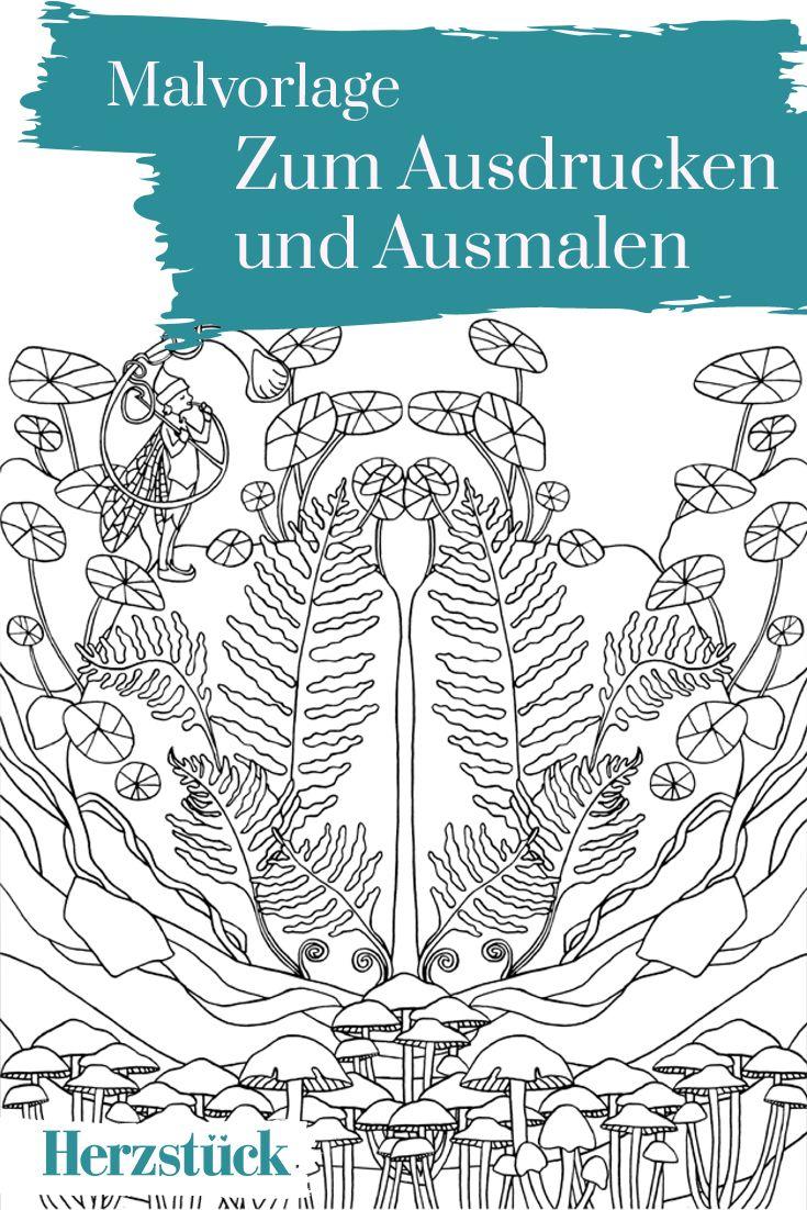 Ein Meer aus Pilzen und Blättern: Malvorlage aus dem Herzstück ...