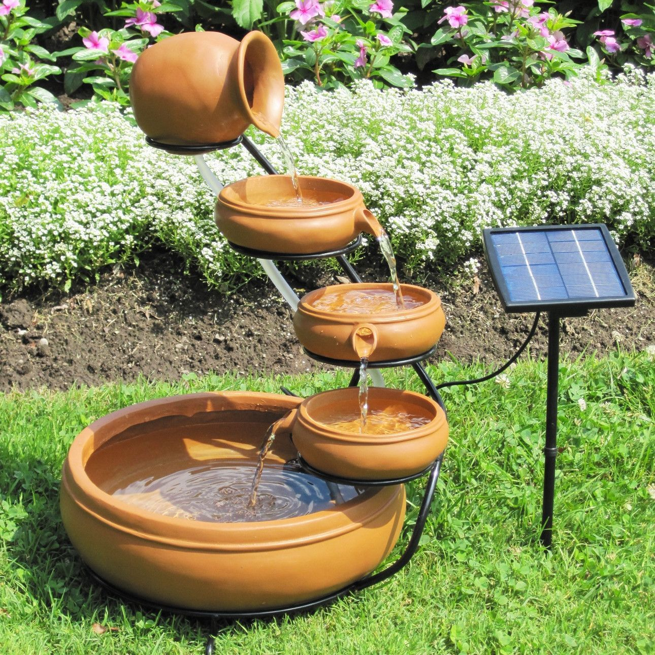 Outdoor Solar Water Fountain With Cascading Terracotta Pots Solar Water Fountain Fountains Outdoor Garden Fountains
