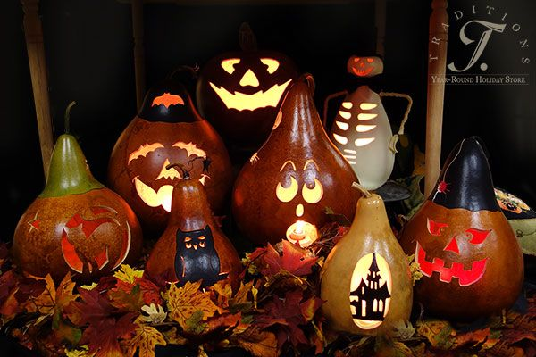 Meadowbrooke Gourds handcrafted Fall and Halloween gourd, beautiful - natural halloween decorations