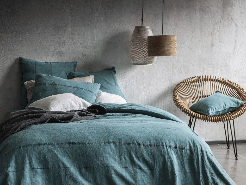 Grand Bleu Sur La Deco Avec Images Housse De Couette Linge De Lit Vert Linge De Lit
