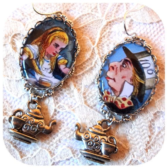 FREE SHIPPING AVAILABLE  Alice and Mad Hatter by WhimsyLovelies, $23.00