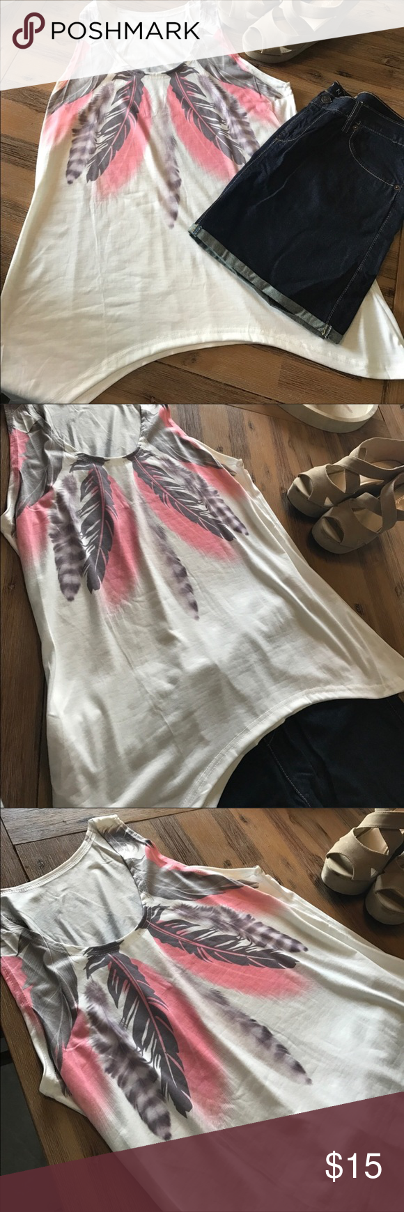 Feathered Swingy Tank Top So Boho Chic L (8-12) 🆕 This feather print is so beautiful! It doesn't quite fit me as I'm more of a 16. Bought in hopes of making it work. My loss, your gain- even the swingy hemline is gorgeous! Make it yours! 🌺🎀🌸 Tops Tank Tops
