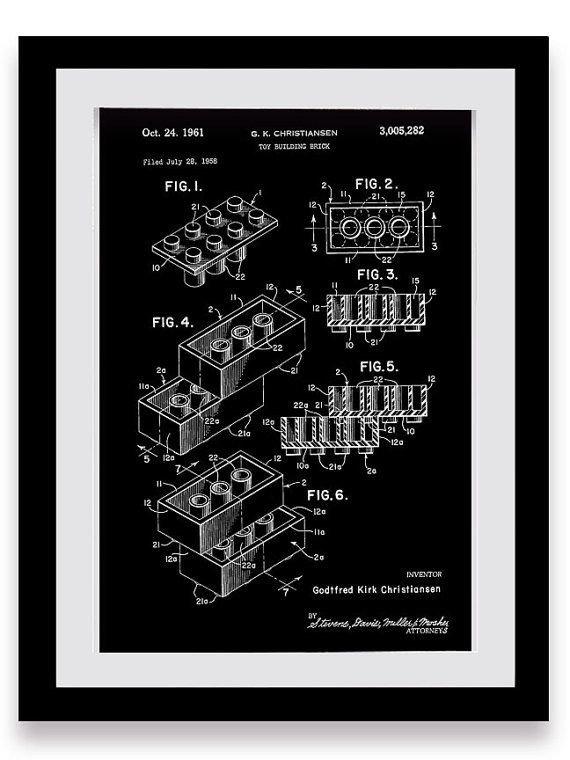 Legos, Toy Bricks, Patent Print, Old Toys, Children's Room, Games, Wall Art, Illustration, Color, Industrial, Home Decor, Engineering Print