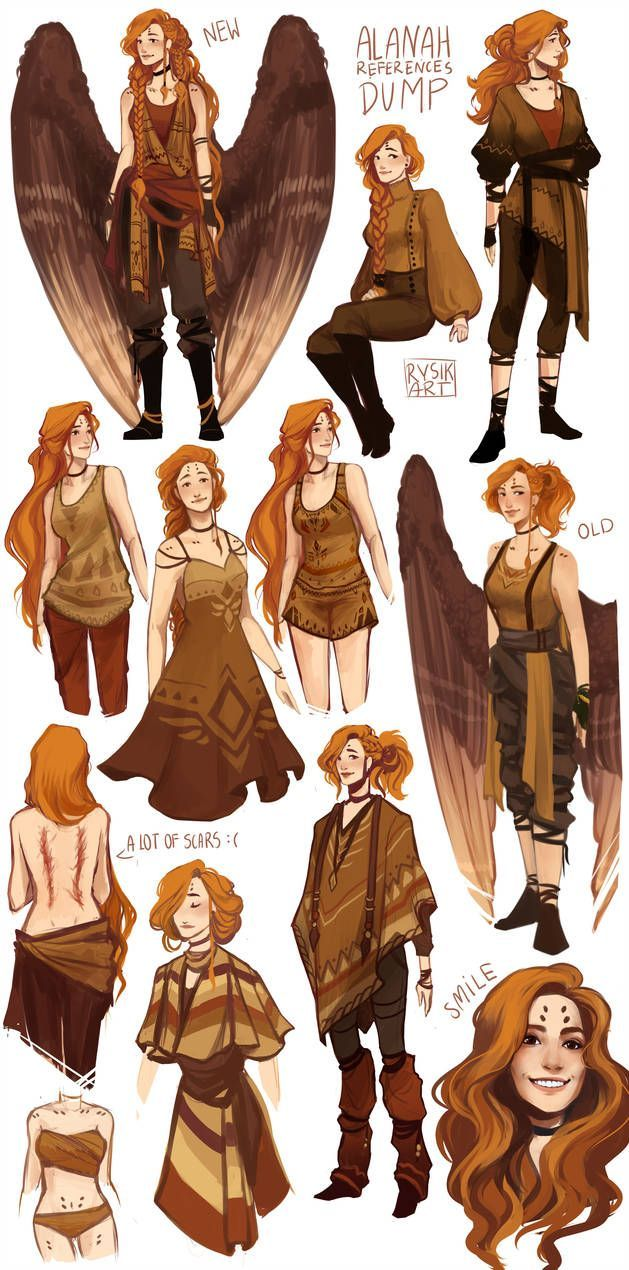 Female aasimar / angel with scars red headed warrior / character portrait / close up / different outfits  character concepts, ideas for painting miniatures