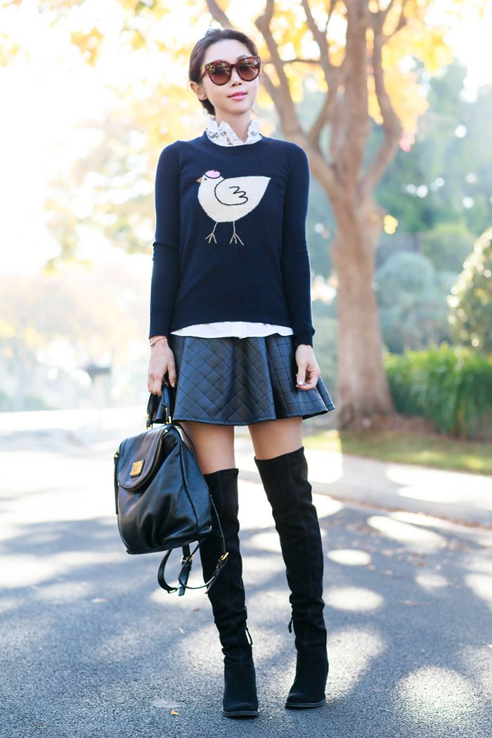 98ba10a65e39f ANIMAL SWEATER +QUILTED SKIRT