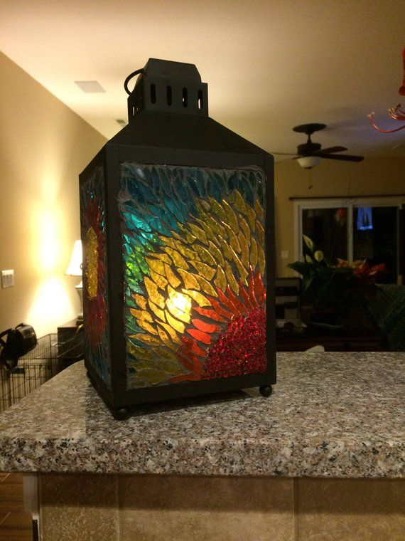 Stained Gl Lantern Mosaic Light