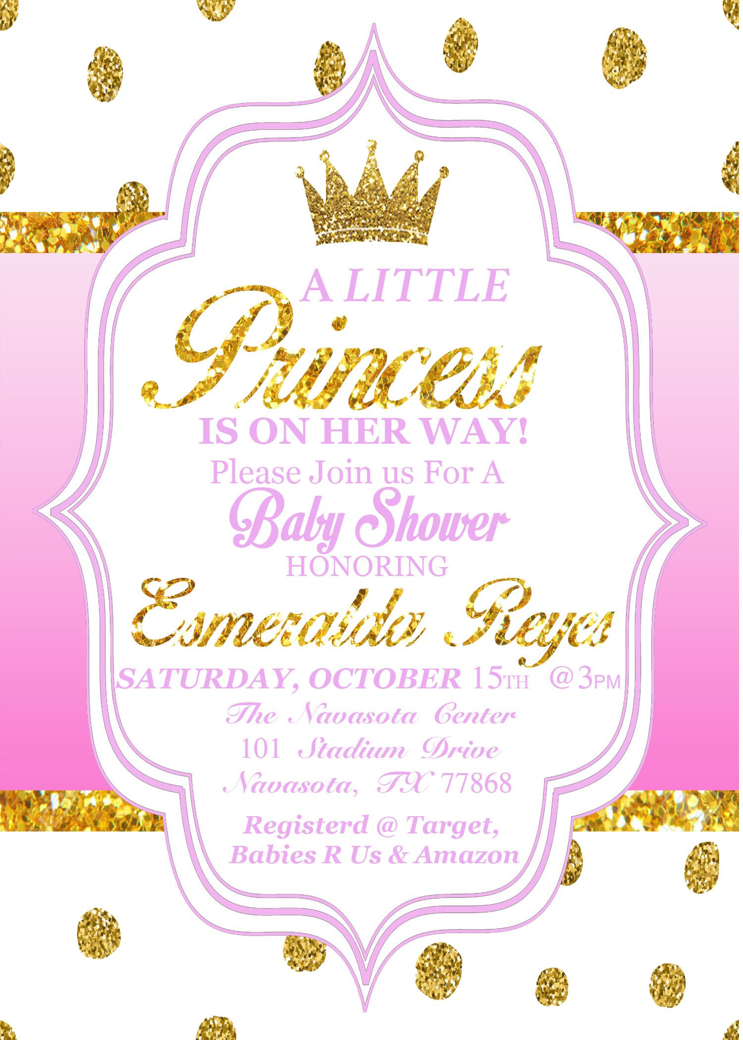 And it\'s done!!!!Pink and gold Polka dot baby shower invitation ...