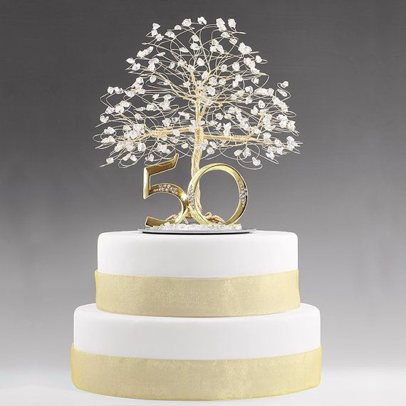 50th Anniversary Gift Cake Topper Decoration Birthday Idea Tree In Clear Quartz Crystal And Gold Tone Wire