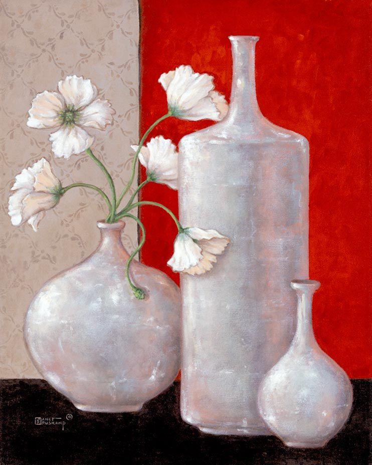 Janet Kruskamps Paintings Silver Leaf And Poppies Ii An Original