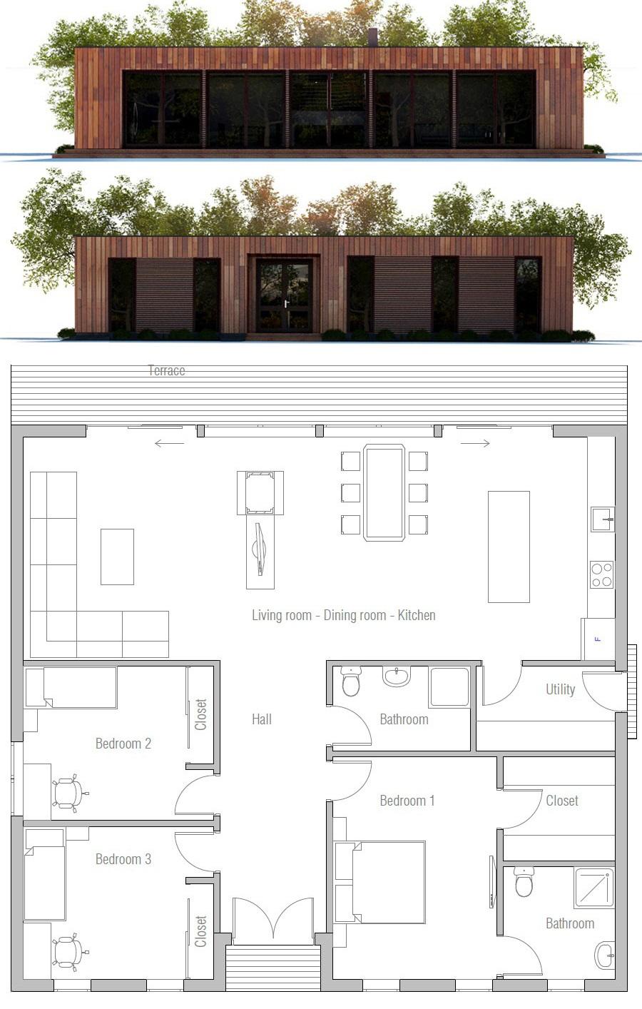 House Plan Ch433 Modern Small House Design Small Modern House Plans House Plans