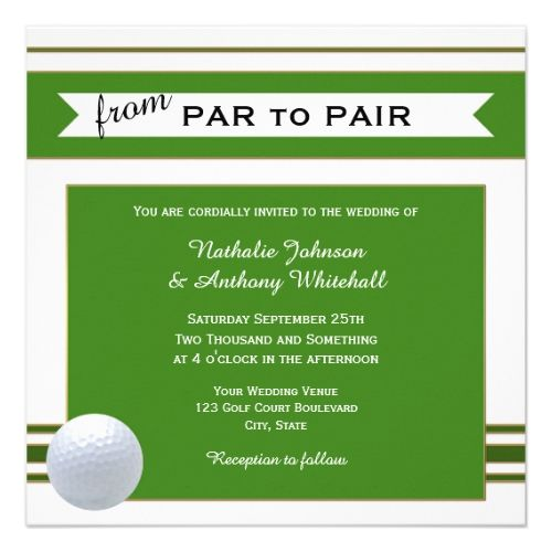 Simple Elegant Golf Theme Wedding Invitation Golfer Pinterest