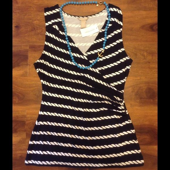 Navy nautical rope top Navy blue with white rope print. V-neck cross over. 95% rayon, 5% spandex, Banana Republic Tops Tank Tops