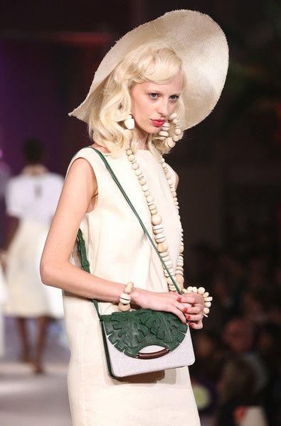 A model walks the runway at the Charlotte Olympia show during London Fashion…