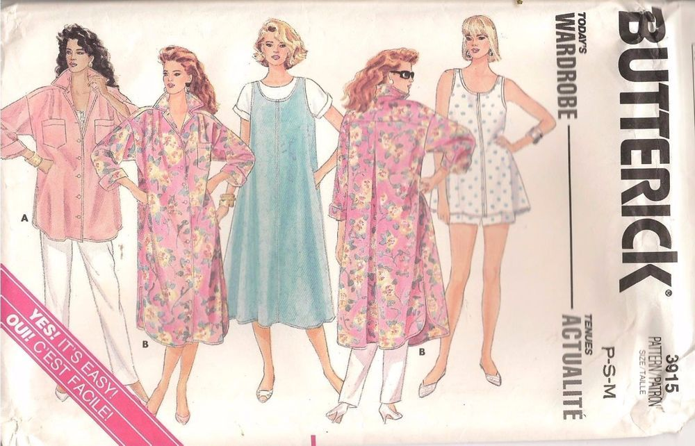cc2ebca083c 80s Butterick Sewing Pattern 3915 Maternity Dress Shirt Jumper Top Pants Sz  P M