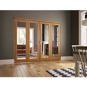 Wickes Newbury Internal Fold Flat 4 Door Set Oak Veneer 2007 x ...