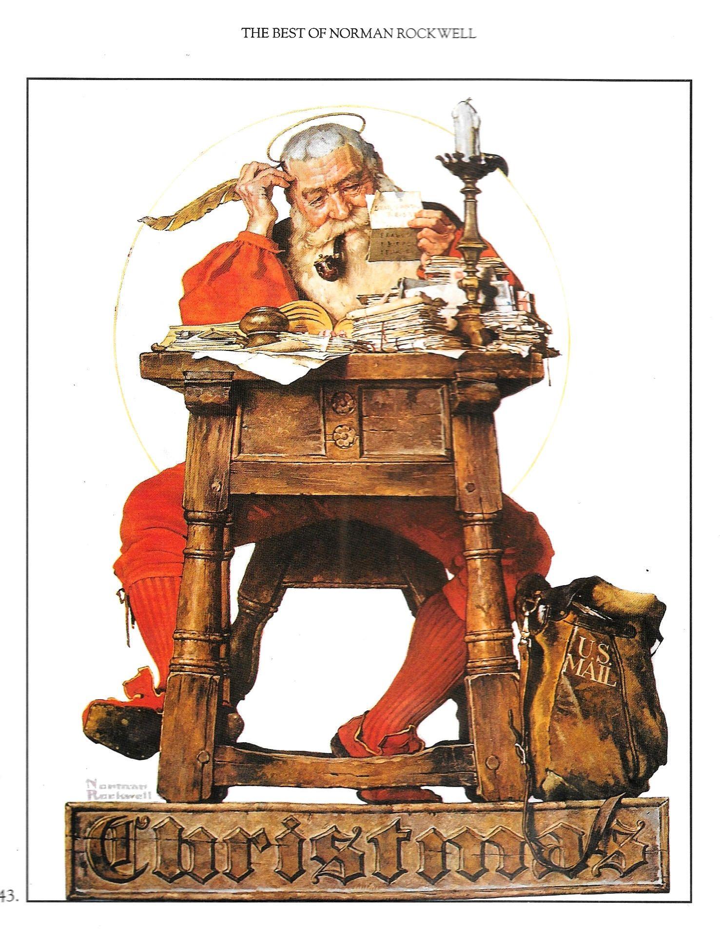 Large Norman Rockwell print Christmas SANTA Reading MAIL USPS Postal ...