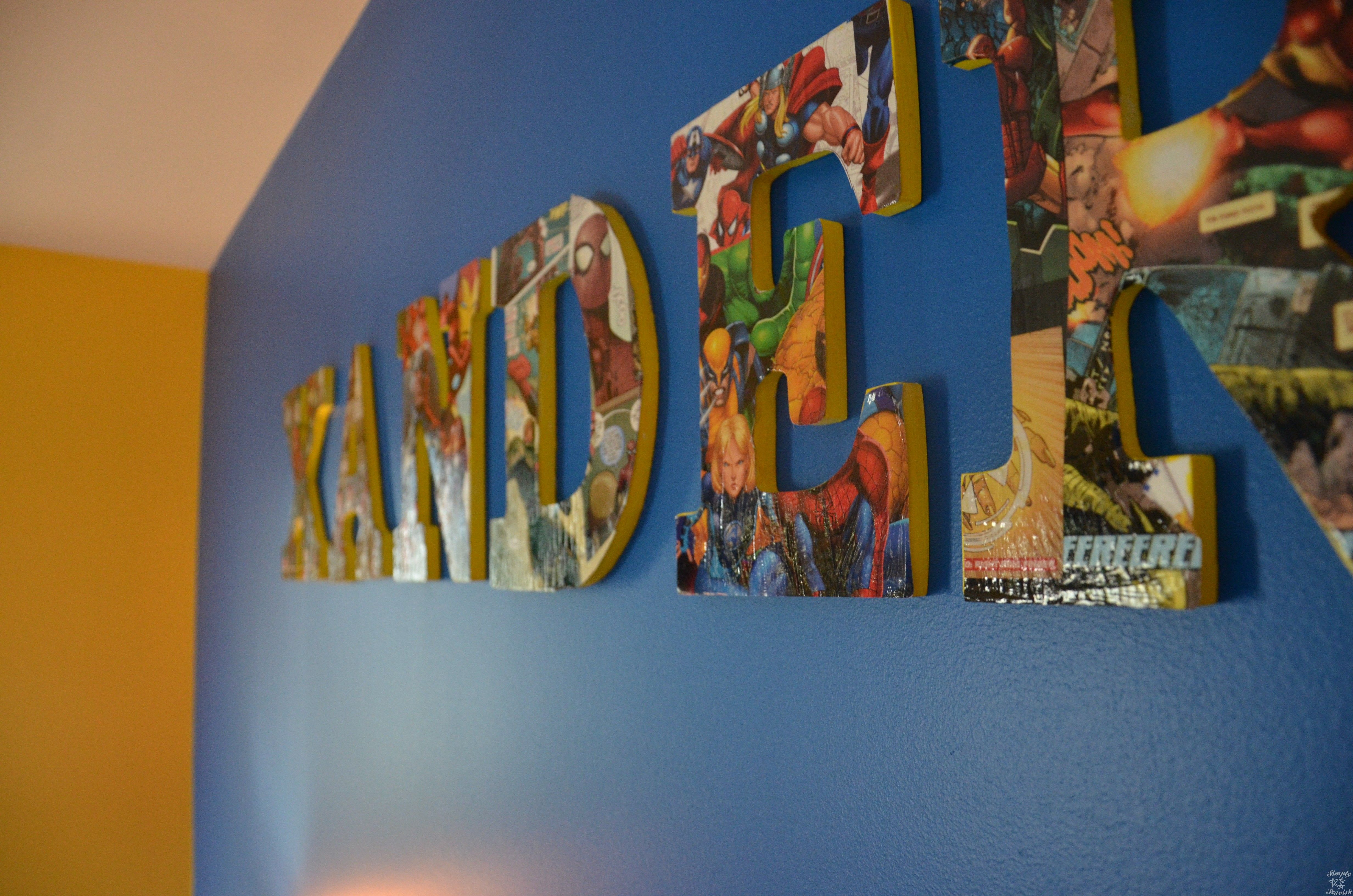 Comic Book Modge Podge Wooden Letter Name Collage Close Up