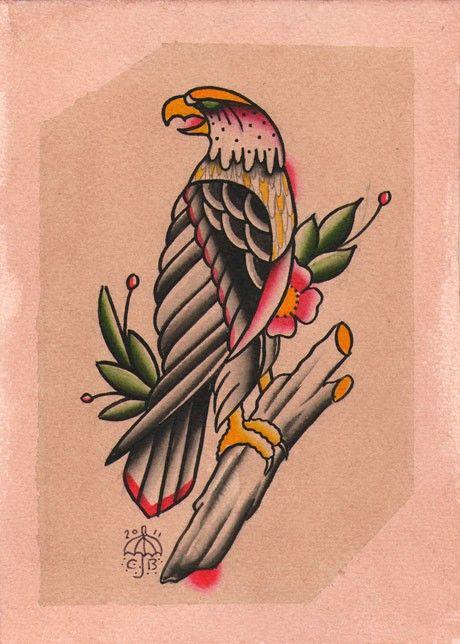 Tatuaje Americano Tradicional traditional eagle tattoo painting 5x7 original | tattoos | pinterest