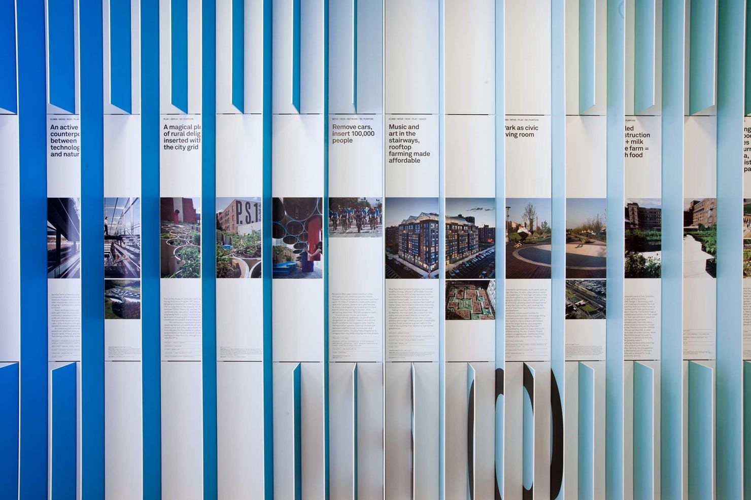 Projects Using Active Design Principles Are Displayed In The Grid Of The Panels History Wall Environmental Graphic Design Exhibition Design