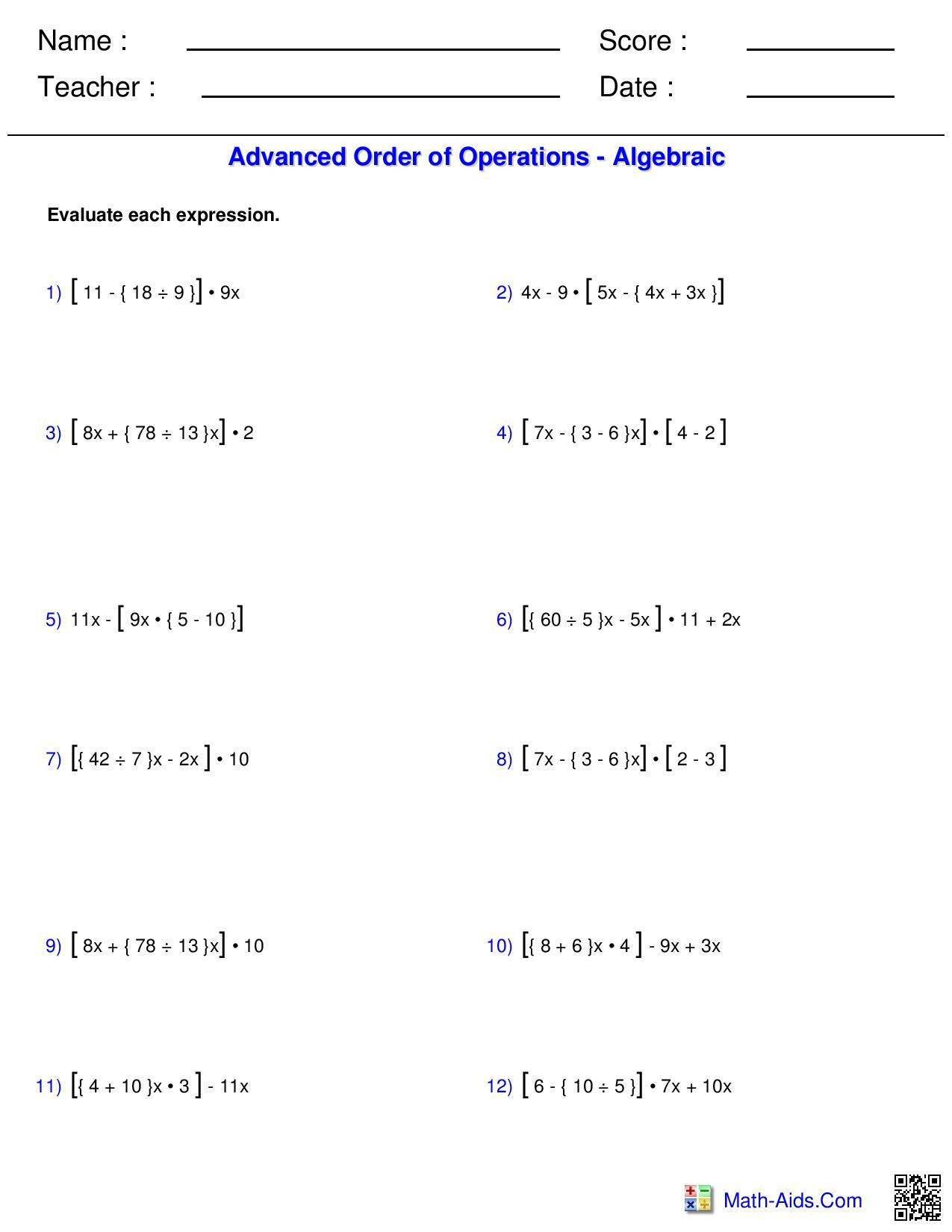 5th Grade Pemdas Worksheets A Order Of Operations