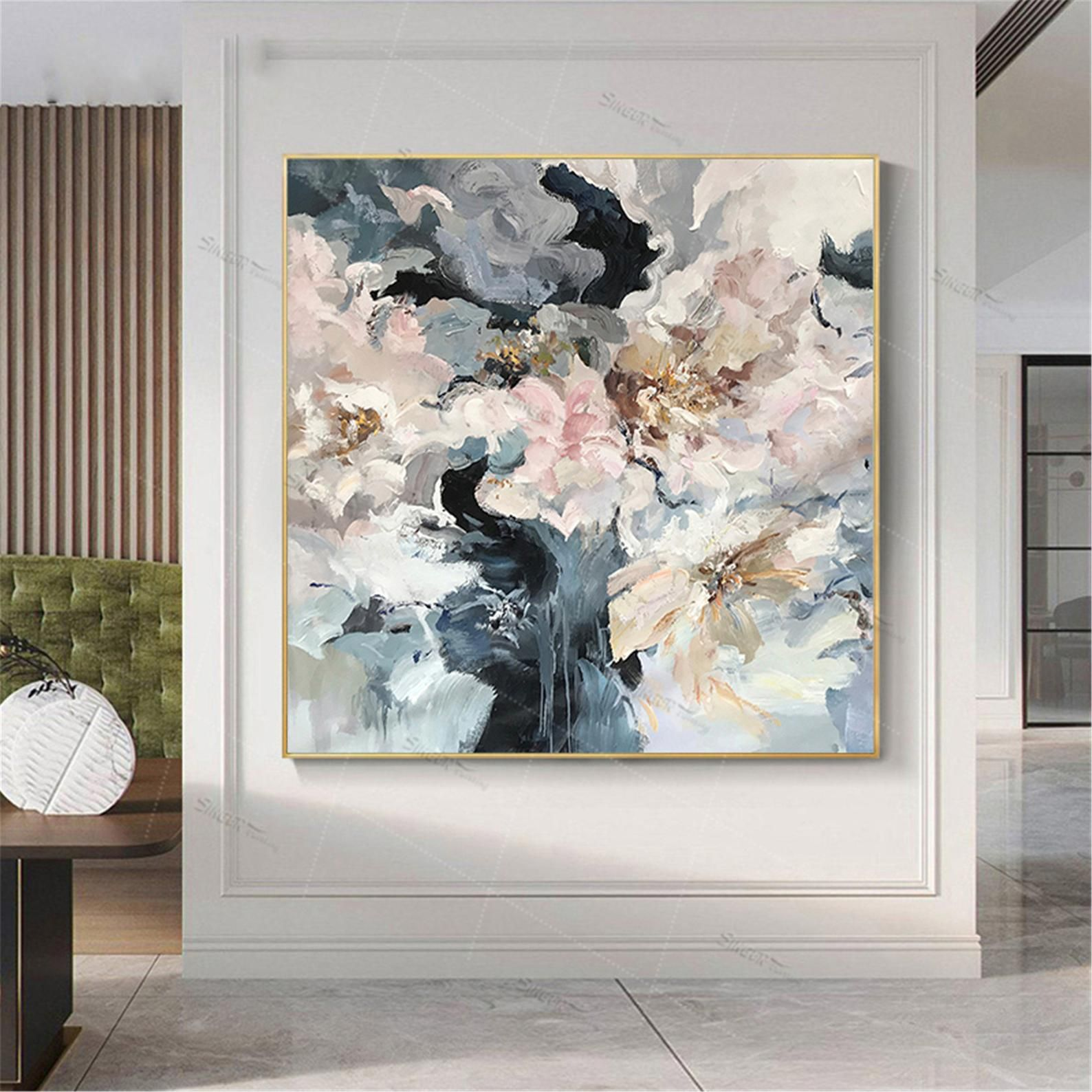 Abstract Flowers Painting Canvas Wall Art Pictures For Living Etsy In 2020 Flower Painting Canvas Wall Art Pictures Abstract Flower Painting #painting #frames #for #living #room