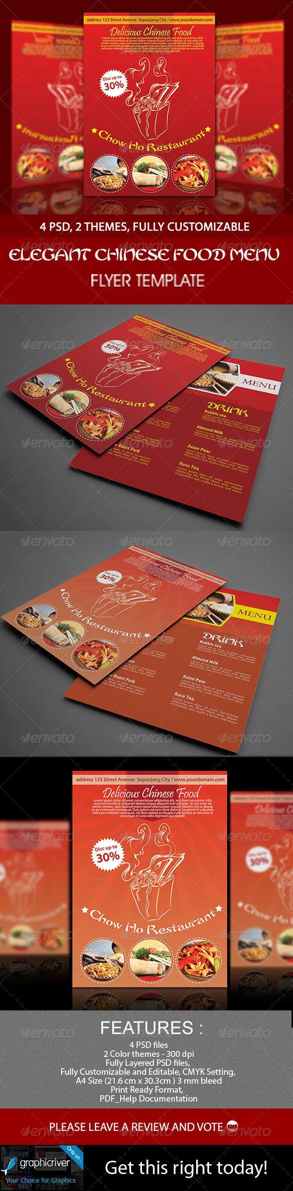 Elegant Chinese Food Menu Flyer Template – Menu Flyer Template